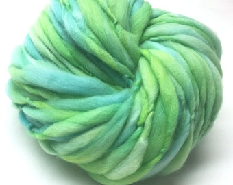 Super bulky handspun yarn, 60 yards and 3.4 ounces/ 95 grams, spun thick and thin in merino wool