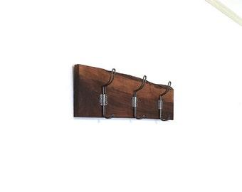 Rustic Walnut Coat Rack. Coat Hanger. Towel Rack. OOAK 3 Hooks. Cabin. Winter Home Decor. 20 Inch. Ready to ship.