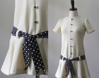 Vintage 1960s Mini Dress XS Drop Waist Mini Dress Mod Mini Dress with Sash Womens Off White Size Extra Small