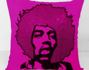 Shop for Electrifying Jimi Hendrix Pillow in Pink silk-Throw pillow case