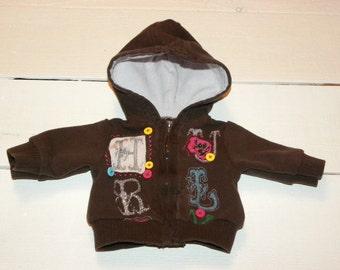Brown Decorated Hooded Jacket - 16 - 18 inch doll clothes