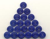 Reserved for Jennifer, Tom's handmade lampwork opaque royal lapis blue 25 MINI disc spacer/drop set,  95806