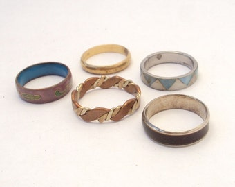 Ring Lot, Bands, Mood Ring, Enamel Ring, Mother of Pearl Ring, Brass Ring, Vintage