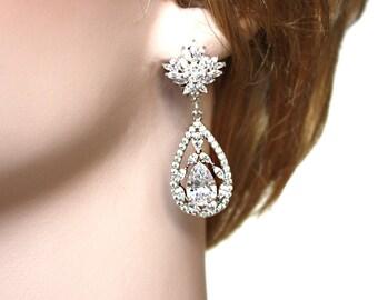 Cubic Zirconia  Silver Bridal Earrings Wedding Tear Drops Bridal Jewelry Rhodium plated Crystal Wedding Earrings - Grace Earrings