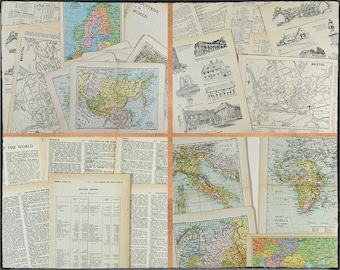 Vintage paper ephemera 20 pcs, old colour maps, illustrations, historic buildings, gazetteer pages, itineraries, aged pages for art or craft