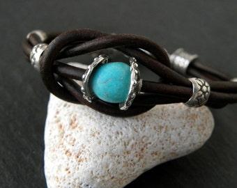 Sterling Silver Leather Bracelet Natural Turquoise Bracelet Artisan OOAK Handcrafted Urban Rustic