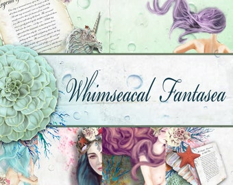 "Digital Paper - Journal Kit - ""Whimseacal Fantasea"" Part 1 - Digital Mermaid Kit, Journals Kit, Card Making and Mixed Media Projects"
