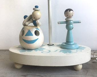 Vintage Wood Nursery Lamp Peter Pumpkin Eater Blue Ivory NightLight AS IS