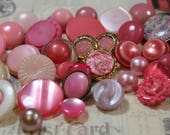 Pink Plastic Buttons 36 Shades of Pink Old and New Plastic Buttons