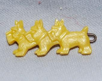 Scottie Dog Hair Clip / Vintage / Animal / Barrette / old jewelry