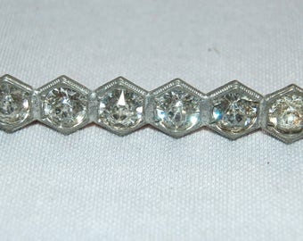 Vintage / Antique / Victorian / Rhinestone / Brooch / Clear / C Clasp / Collectible / old jewelry