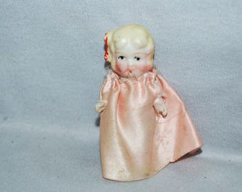 Vintage / Bisque / Doll / Flapper / Dress, Blond / frozen charlotte / penny doll / Vintage Dolls