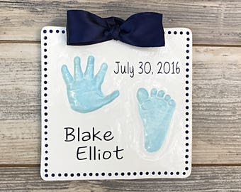 Personalized Handprint and Footprint - Personalized Baby Feet Keepsake - Unique Baby Footprints - Baby Hand Sign - Infant Handprint Plaque