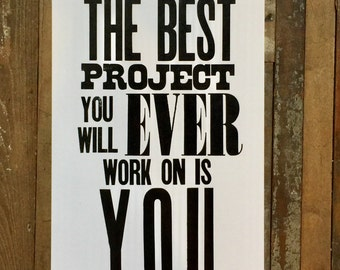 Motivational Poster, Inspirational Art, Self Improvement Black and White Sign, Letterpress Print
