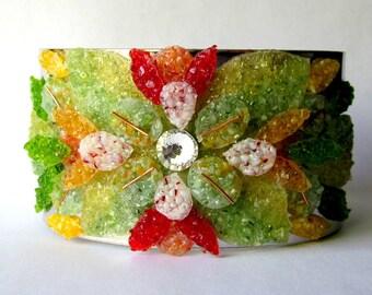 Stained Glass Leaf Cuff Bracelet, Flower Petal Bracelet, Red Green Copper, Adjustable Plus Size Cuff, Ornate Jewelry, Streetstyle Fashion
