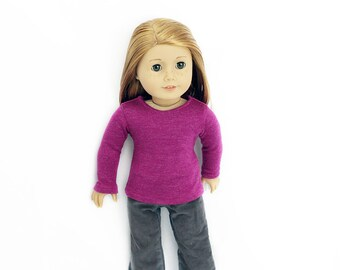 "Shimmer Pink Knit Top and Soft Grey Cords for 18"" Dolls Such as American Girl"