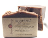 Gingerbread Artisan Soap with Cocoa Butter and Coconut Milk- Cold Process Soap, Handmade Soap, Holiday Soap