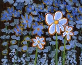Blue Flowers, modern impressionism original acrylic