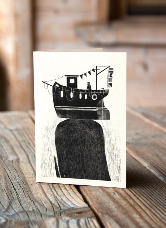 Whale & Fishing Boat - Never Stop Exploring - Greetings Card