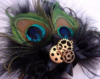 Small Black Peacock Feather & Gold Cog Gears Steampunk Gothic Style Mini Fascinator Wedding Party Hair Clip - Made to Order