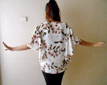 Angel sleeve Blouse, White Blossom Women's blouses, Floral Print Blouse Romantic bell sleeve blouse