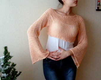 Bell Sleeves Loose Knit Cropped Sweater Top Boho Knit Shrug Salmon Long Sleeve Short Sweater