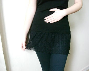 Shirt extender, Black Lace Top Extender, Black Shirt Extender, Cotton Slip Extender, dress extender slip size XL 2XL