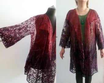 Sheer Plus size lace kimono jacket, Lace jacket plus size, Womens Long Lace Coat Ladies Long Open Front Slip On Blazer Jacket