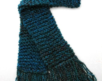 Dark Teal Scarf, Long Chunky Knit Scarf, Men Women, Winter Scarf, Peacock Blue Scarf, Hand Knitted Scarf