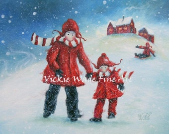 Mom and Daughter Snow ORIGINAL Painting, mother and daughter, two girls, mom, christmas painting, snow children, Vickie Wade Paintings