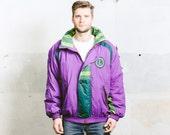 80s Snowboarding Jacket . Vintage 80s Men's Ski Jacket Puffer Coat Purple Bold Parka Unisex 1980s Sportswear Outerwear . size Extra Large XL