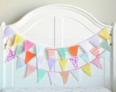 Bunting Banner Fabric Bunting Flags 9 Feet / Vintage Nursery Bunting Reusable and Eco Friendly Rainbow Party Decorations For girl SHIPS NOW
