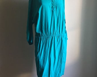 Emerald Green Gauze Cotton Casual Vintage Dress • Cotton Dress • Free Size Dress • Gauze Cotton Dress