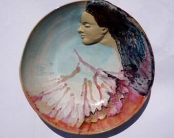 Goddess Art Serving Bowl Wall Art Platter Bas Relief Figure Sculpture Large Centerpiece with Turquiose Blue Sky