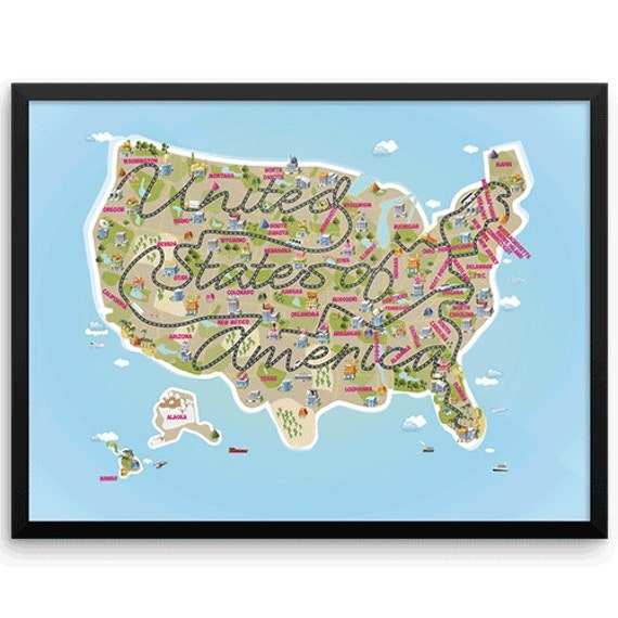 USA Map Poster Wall Art Print, Kids world map, Home Decor, Map for kids,Typography Gifts for people who travel, 18 x 24 wall art, Travel map