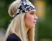 Black & Ivory Flowered Headband Floral Headwrap Wide Headscarf Pretied Cotton Head Wrap Black Fabric Hair Band (#4334) S M L X