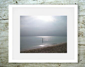 Digital print Digital download Print Photo foggy sky blue ocean sea beach wall Printable by L.Dumas