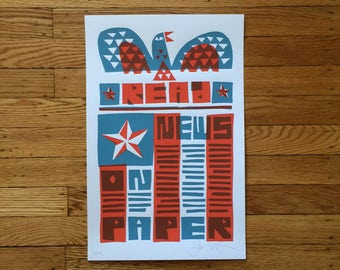 Read News On Paper Screenprinted Poster