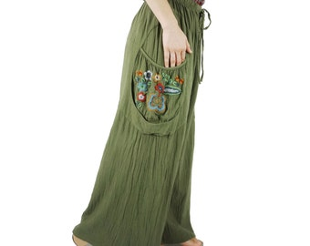 Look At Me Now...Simply Wide Legs Army Green Cotton Pants With Floral Hand Embroidered Detail On Right Pocket