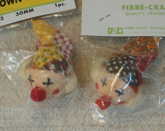 2 Fibre Craft Clown Heads, Small Craft Supplies, Retro Colors Vintage Supply