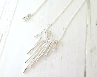 Bohemian Fringe Necklace, Hill Tribe Silver Fringe Necklace, Graduating Bar Necklace in Sterling Silver, Boho, Bohemian Fringe, Boho Chic