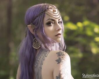 Woodland Elf Headpiece - Antiqued Brass
