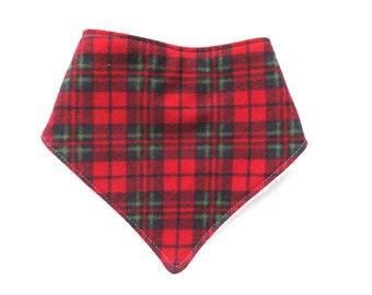 Plaid Christmas Bandana Baby Bib - Drool Bib - Bibdana - Gender Neutral Bib - Lumberjack - Red and Green Holiday Baby Bib - Scottish Baby