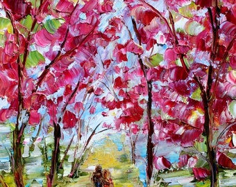 Spring Love painting in oil landscape palette knife impressionism on canvas 10x20 fine art by Karen Tarlton