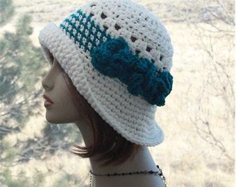 Womens Hat Sun Hat Crochet  Flapper  Hat, Summer Hat, Bohemian Hat,  Wide Brim Hat, Summer Hat, Crochet Cream Hat, Womens Summer Hat