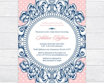 Gender Reveal Victorian Frame Baby Shower Invitation, Elegance Vintage Baby Shower Invite, Personalized Gender Neutral Baby Shower Invite
