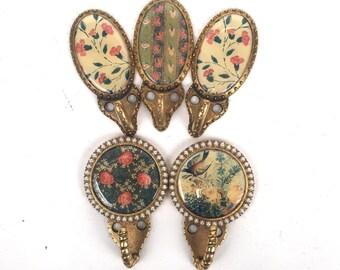 Vintage 1980s Set of 5 Vintage Floral Hooks