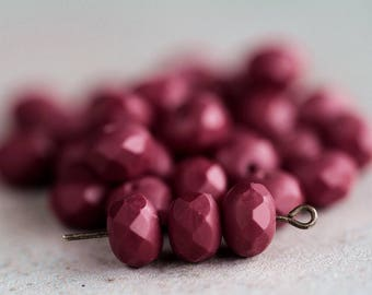 Matte Burgundy Czech Glass Beads, Fire Polished Faceted Rondelles, Glass faceted donut beads, 6x8mm (20pcs) NEW