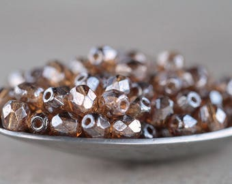 4mm Lustered Topaz Glass Beads, Czech Glass Beads, Fire Polished beads, Small round faceted beads, Topaz & Clear Luster (100pcs) NEW