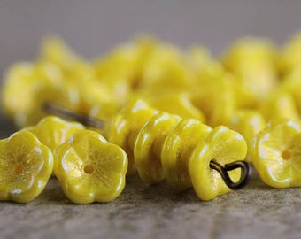 Rainbow Lustred Yellow Bell Flower Czech Glass Beads, Baby Bell Flower Beads, Glass Flower Beads, Opaque yellow, 5x8mm (50pcs) NEW